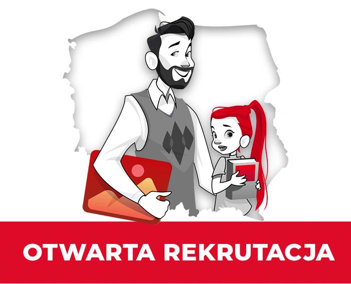 otwarta rekrutacja - obrazek nauczyciela i uczennicy na tle mapy Polski